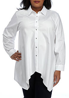 Calvin Klein Plus Size Shark Bite Button Down Top