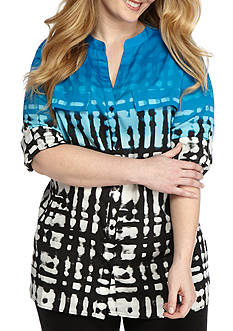 Calvin Klein Plus Size Printed Roll Tab Sleeve Blouse