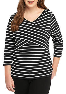Calvin Klein Plus Size 3/4 Stripe Top