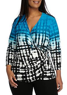 Calvin Klein Plus Size Printed Wrap Top