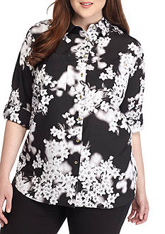 Calvin Klein Plus Size Cherry Blossom Top