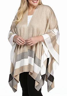 Calvin Klein Plus Size Long Sleeve Single Stripe Sweater Shawl