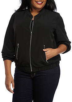Calvin Klein Plus Size Solid Bomber Jacket