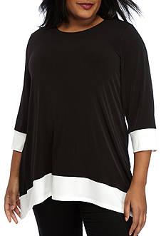Calvin Klein Plus Size Shark-Bite Top