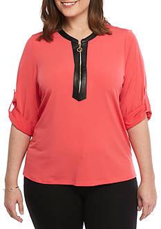 Calvin Klein Plus Size Pull Half Zip Top