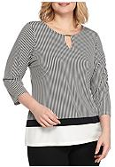 Calvin Klein Plus Size 3/4 Sleeve Printed Top