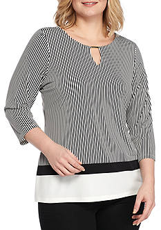 Calvin Klein Plus Size 3/4 Sleeve Printed Top
