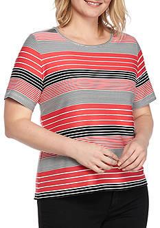 Calvin Klein Plus Size Textured Stripe Top