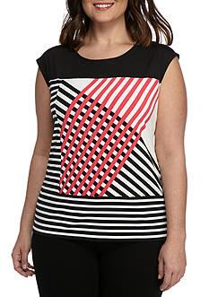 Calvin Klein Plus Size Geo Stripe Tee