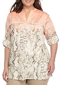 Calvin Klein Plus Size Ombre Roll Tab Woven Top