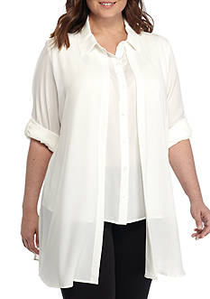 Calvin Klein Plus Size Duster Woven Top