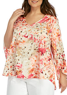 Calvin Klein Plus Size Pretty Floral Bell Sleeve Top