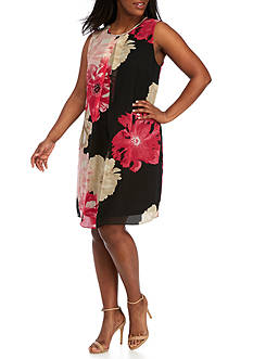 Calvin Klein Plus Size Printed Inverted Pleated Dress