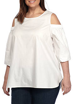 Calvin Klein Plus Size 3/4 Sleeve Cold Shoulder Solid Blouse