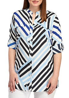 Calvin Klein Plus Size Roll Sleeve Asymmetrical Striped Blouse