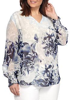 Calvin Klein Plus Size Long Sleeve Print Peasant Blouse