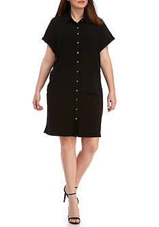Calvin Klein Plus Size Short Sleeve Solid Dress with Chiffon Overlay