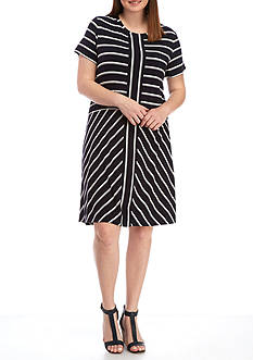 Calvin Klein Plus Size Short Sleeve Striped T-Shirt Dress