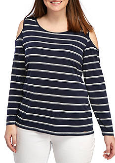 Calvin Klein Plus Size 3/4 Sleeve Cold Shoulder Striped Top