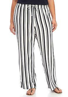 Calvin Klein Plus Size Striped Drawstring Pant