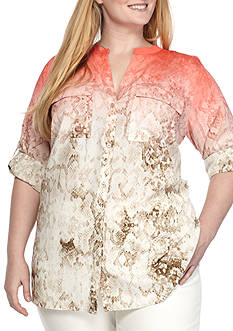Calvin Klein Plus Size Printed Roll Sleeve Top