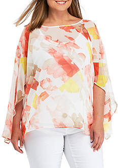 Calvin Klein Plus Size Printed Slit Three-Quarter Sleeve Cami Blouse