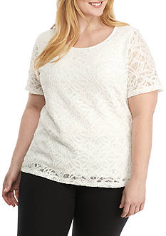 Calvin Klein Plus Size Short Sleeve Lace Top