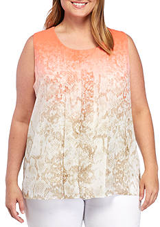 Calvin Klein Plus Size Sleeveless Printed Top With Chiffon Overlay