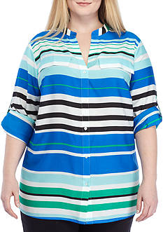 Calvin Klein Plus Size Roll Sleeve Stripe Button Shirt