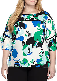 Calvin Klein Plus Size Printed Ruffle Bell Sleeve Blouse
