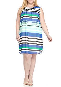Calvin Klein Plus Size Sleeveless Striped Chiffon Dress