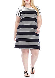Calvin Klein Plus Size Short Sleeve Stripe T shirt Dress