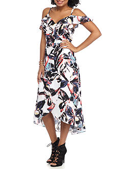 love, Fire Floral Print Wrap Maxi Dress
