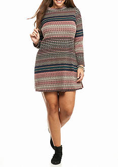 love, Fire Plus Size Long Sleeve Striped Dress