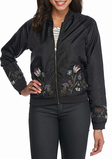 love, Fire Embroidered Bomber Jakcet