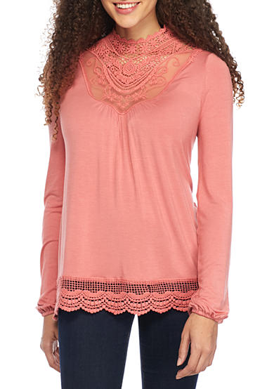 love, Fire Lace High Neck Blouse