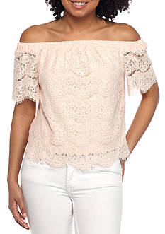 love, Fire Off The Shoulder Top with elastic Waistband