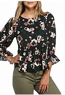 love, Fire Ruffled Floral Blouse