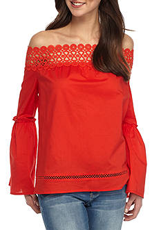 love, Fire Off Shoulder Flare Sleeve Top