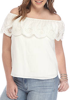 love, Fire Plus Size Eyelet Ruffle Blouse