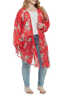love, Fire Floral Tie Sleeve Cozy Kimono