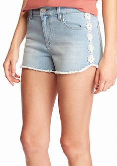 love, FIRE love, FIRE Flower Crochet Fray Shorts