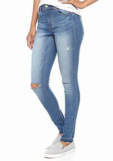 Tinseltown Destructed Release Hem Skinny Jeans