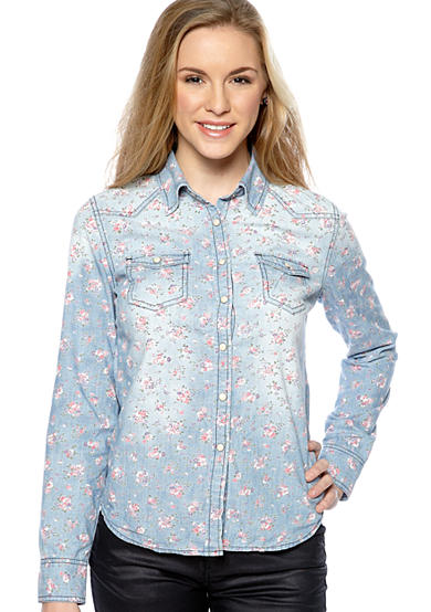 love Floral Printed Chambray Top