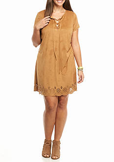 love, Fire Plus Size Stretch Suede Dress