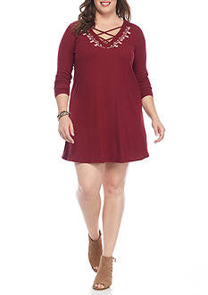 love, Fire Plus Size Rib Knit Swing Dress