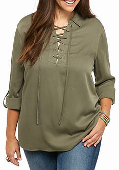 love, Fire Plus Size Chambray Lace Up Shirt Dress