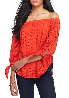 Fourteenth Place Off The Shoulder Eyelet Woven Top