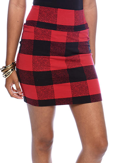 love Plaid Body Con Skirt