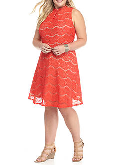 love, Fire Plus Size Lace Skater Dress